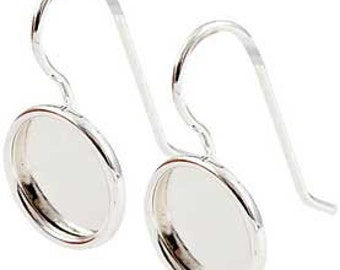 Pair of Blank Bezel Earrings with 11mm Bezels, Sterling Silver Plated, Antiqued, High Quality Earrings Made in USA, #N163