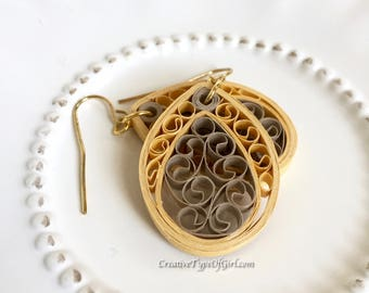 Pale gold and tan paper quilling earrings-Pale gold paper filigree earrings