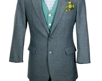 Preppy Blue-gray Extra Short pinstripe nicely tailored blazer