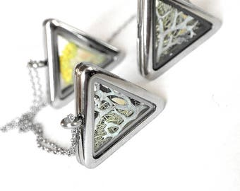 Triangle necklace Moss necklace locket Glass necklace for her necklace mother Cocktail necklace Moving gift for friend Triangle pendant