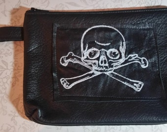 Black Leather Clutch Cosmetics Bag With Skull By Darkwear Clothing