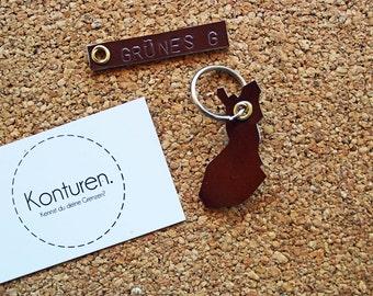 Finland / Finland Keychain - key chain, leather, Brown