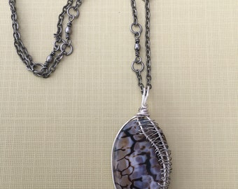 brown jasper wired pendant with silver chain.