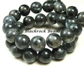 14mm Labradorite Natural Gemstone Beads - 14pcs - Black, Gray, Round, Opaque, Larvikite - BK20