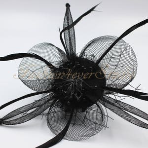 Black Headpiece, Flower Fascinator, Feather Headpiece, Flower Brooches, Feather Brooches, With Hair Clip and Brooch Pin Back