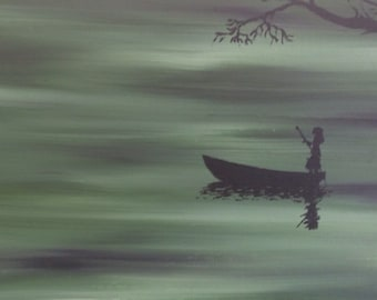 Original canvas painting Eerie Green and black oil and acrylic girl woman in pirogue / boat, Louisiana Bayou. Titled 'Ruby's Swamp'