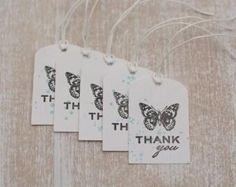 "5 handmade gift tag ""Thank you"""