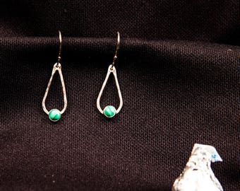 sterling silver and malachite drop earrings