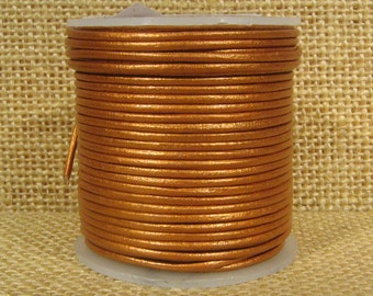 1.5mm Round Indian Leather - Burnt Gold Metallic - L1.5-232
