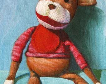 """Sock Monkey Print 8""""x10"""" Nursery Art"""