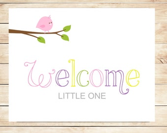 Printable New Baby Girl Welcome Card - Instant Download Card - Welcome Baby Girl Card