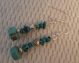 Genuine Turquoise and Tibetan Silver Heart Handmade Earrings - Veronique F075