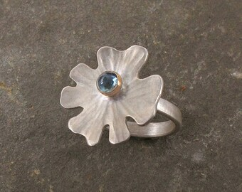 Indicolite, Sterling Silver and 14k Lichen Ring ~ Size 7 1/4 Artisan Handmade Flower Ring, Boho Statement Ring, Gemstone Ring
