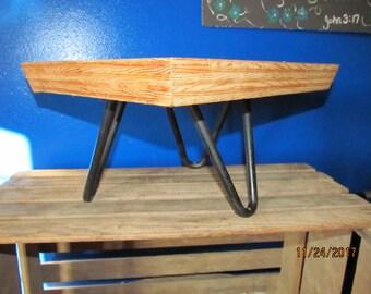 Vintage ijzeren haarspeld benen voetbank Ottomaanse klaar om te herstellen van stevig massief hout houten Top