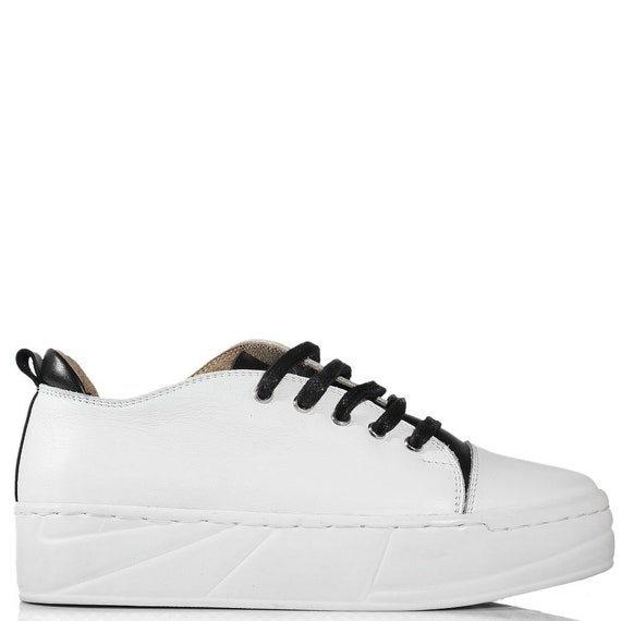 minimalist trainers shoes platform TL0021 ties top Handmade low women custom sport tennis with leather vans sneakers White black keds 41SFZq