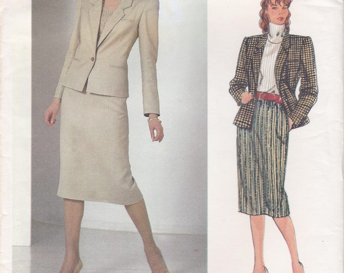 FREE US SHIP Vogue 1190 Designer Bill Haire  Sewing Pattern Uncut Size 12 Bust 34 3Suit Jacket Skirt