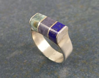 Triple stone inlay ring, sterling silver