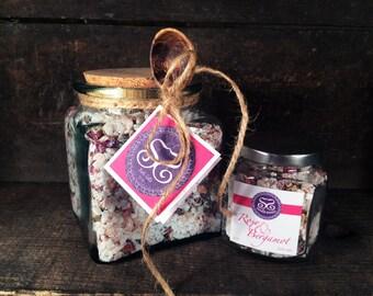 Rose & Bergamot Bath Salt Gift Jar w/Spoon