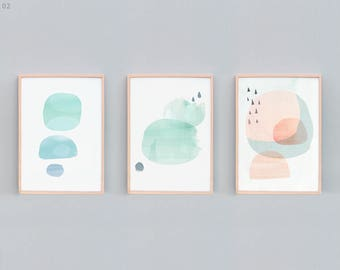 Set of 3, Abstract Painting, Abstract Set, Contemporary Prints, Minimalist, Beach House Art, Watercolor Prints, Peach, Green, Blue