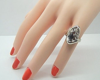 Estate Pear Sapphire 14K White Gold Vintage Diamond Freeform Design Ring 1.25 CT