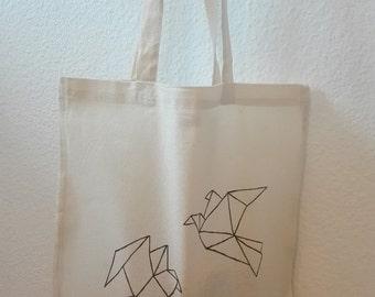 Jute bag origami birds, hand painted