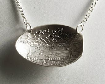 Olympic Mountain Range Necklace, Sterling Silver Spoon Necklace, Seattle Necklace, Seattle Jewerly, Mountain View Necklace, Unique Gift 6815