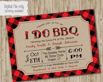 I do BBQ invite, Lumberjack Plaid I do BBQ invitation, custom colors, diy printable invite, couples shower invite, Plaid, Rustic, Vintage