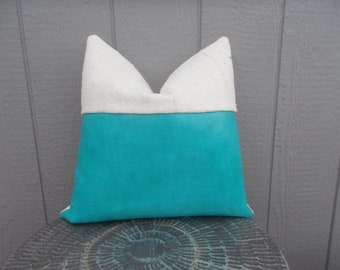 Turquoise Leather-white mud cloth pillow cover