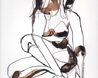 Linie Figur Kunst, Linie Figur Malerei, Tusche-Zeichnung, abstrakte Figur IX April 2018