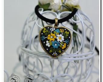 Heart Pendant Ukrainian Embroidery Floral Jewelry Feminine Necklace Polymer Clay jewelry Applique jewelry Floral Embroidery Filigree pendant