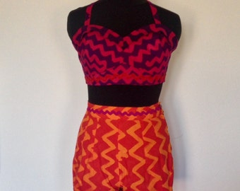 Jazzy 2 piece beach shorts and bra top in a UK size 10