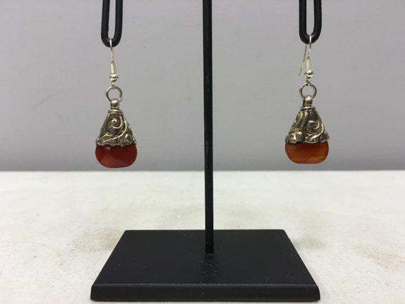 Earrings Tibetan Silver Handmade Red Carnelian Crystal Dangle Etched Silver Teardrop Carnelian Stone Unique E151