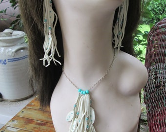 White Deerskin Leather  Necklace With Silver And Turquoise Beads And Leather Feathers