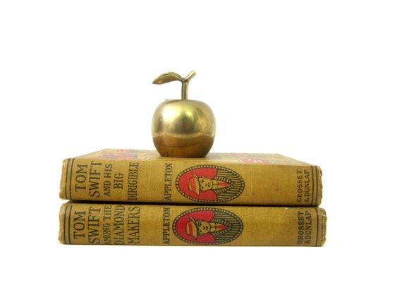 Small Brass Apple Bell modern Home decor 1960s brass Decor Retro Ranch Shelf Decor