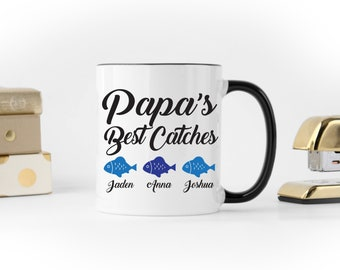 Free Shipping, Papa's Best Catches, Personalized Father's Day, Father's Day Fishing, Funny Father's Day, Custom Father's Day, Fishing Mug
