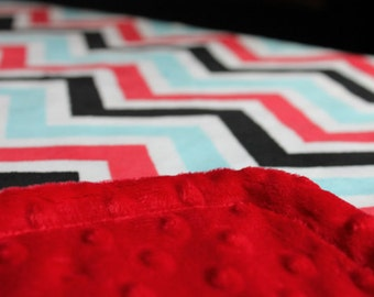 Minky Blanket Red, Black, and Turquoise Chevron Minky with Red Dimple Dot Minky Backing - Perfect Size a Toddler or Child