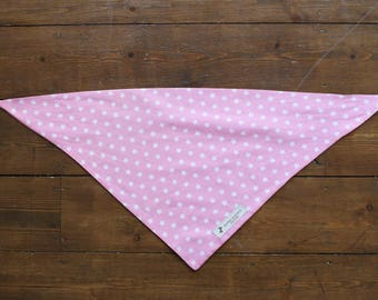 Pink Dog Bandana with White Polka Dots/Stars