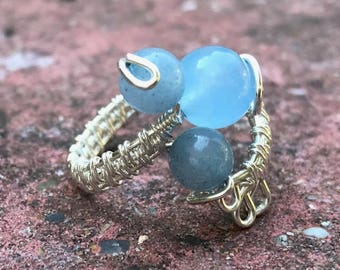 Larimar Jade (Virgo) Silver Plated Wire Wrapped Adjustable Ring (R304)