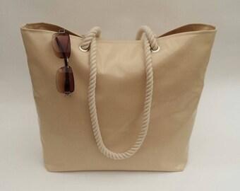 Beach bag/tote in caramel latte gloss oilcloth, Beach bag, Beach tote, Oilcloth beach bag/tote, Oilcloth bag, Beach tote, Tote