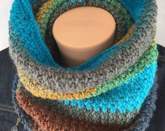 Women's infinity scarf, Crochet cowl scarf, blue infinity scarf, women blue cowl, circle scarf, lightweight scarf, knit infinity scarf