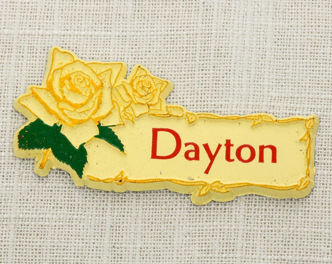 "Vintage ""DAYTON"" Fridge Magnet Yellow Rose 