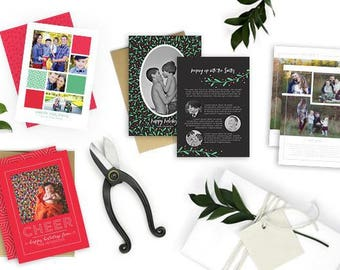 Christmas / Holiday Card Bundle Pack 2, Photoshop Template for photographers - INSTANT DOWNLOAD