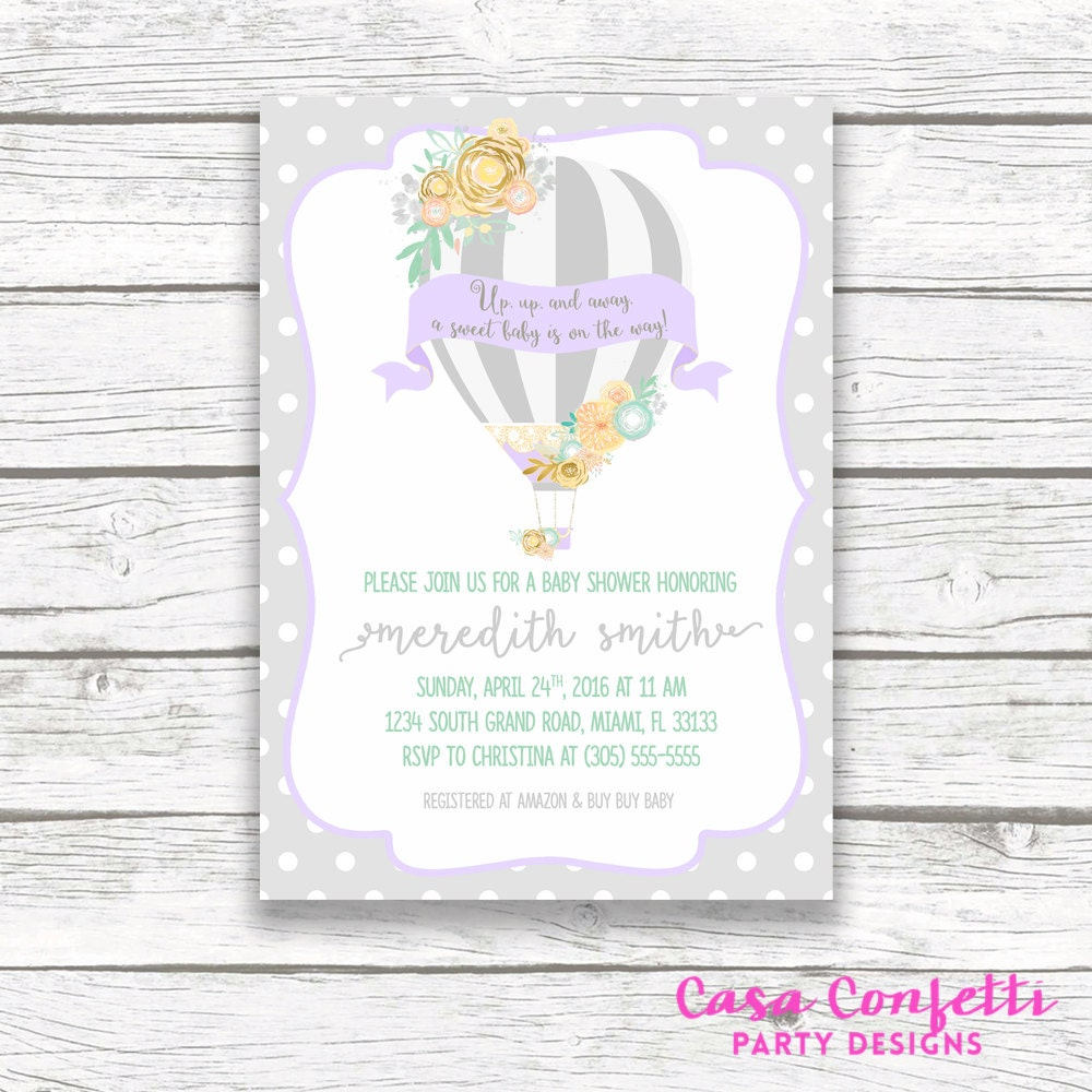 Hot Air Balloon Baby Shower Invitation, Gray Lavender and Teal Girl ...