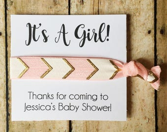 Girl Baby Shower, Hair Tie Favors, Girl Baby Shower Favors, It's a Girl, Girl Shower Favor, Baby Shower Favor, Pink Shower, Custom Favors