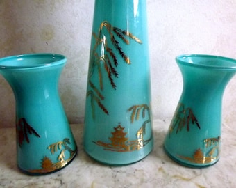 Mid Century, Modern, 1950s, Turquoise, vases, Sake, bar ware, hand painted glass decanter and cups, set of three
