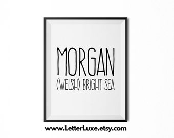 Morgan Name Meaning Art - Printable Baby Shower Gift - Nursery Printable Art - Digital Print - Nursery Decor - Typography Wall Decor