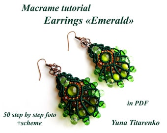 "Macrame tutorial. Earrings ""Emerald"""