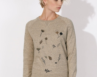 Sweatshirt organic cotton fair Woman Beige mottled - round neck with triangle under collar
