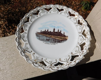 Vintage Made in Austria Chicago Columbian Exposition World's Fair Electrical Building Souvenir Plate - 1893 - from DustyMillerAntiques
