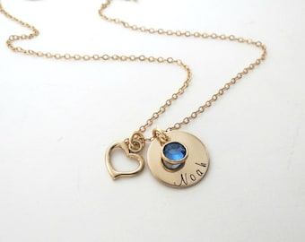 Custom Gold Name Necklace with Birthstones - Personalized Heart Jewelry - Kids Name - Mothers Necklace - Grandma Necklace - Son - Daughter